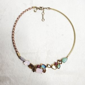 J Crew Womens Necklace Braided Gold Tone Gems